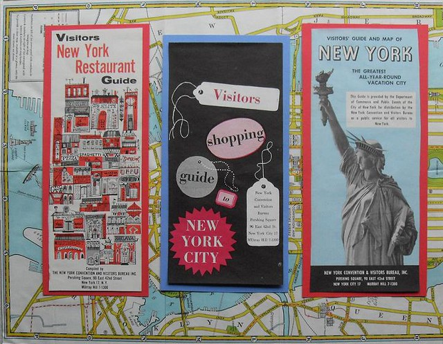 1950s 1960s nyc vintage new york city tourist bochures map for Main attractions in new york city