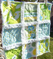 SUMMER GARDEN Baby Rag Quilt Lovey with Nicey Jane Fabric | by LaDolceBoutique