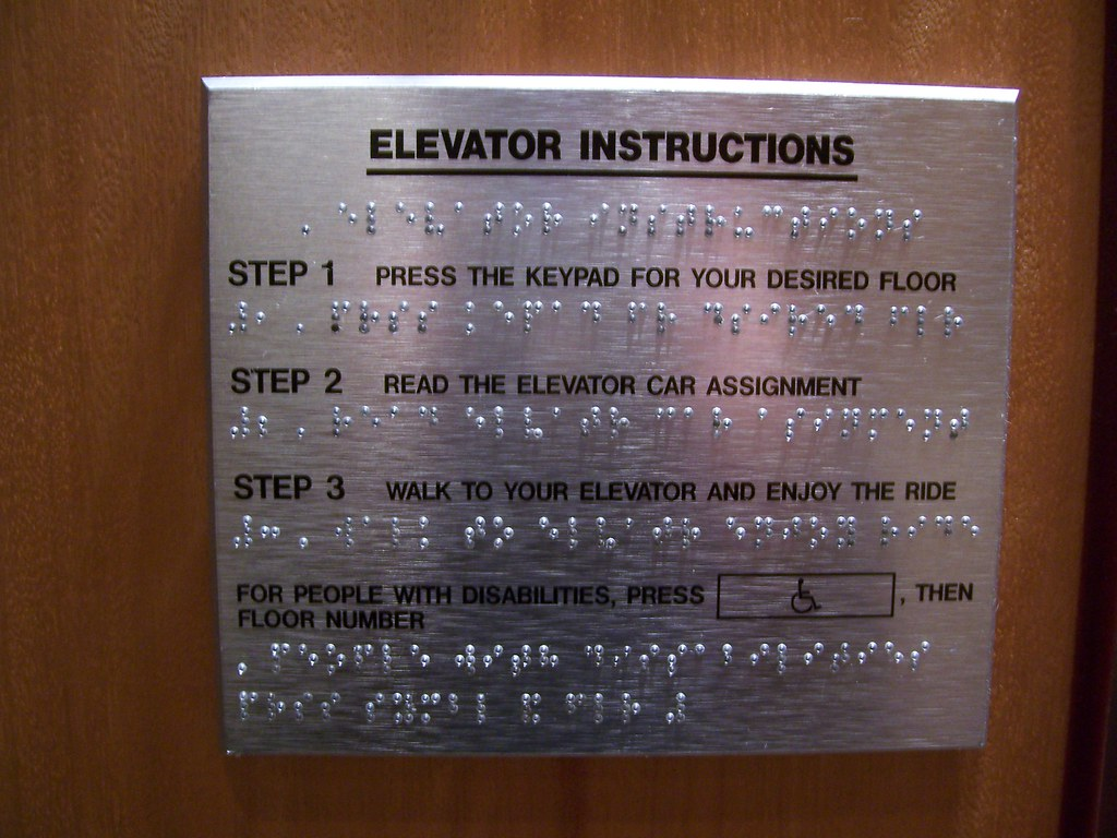 Elevator instructions in Braille