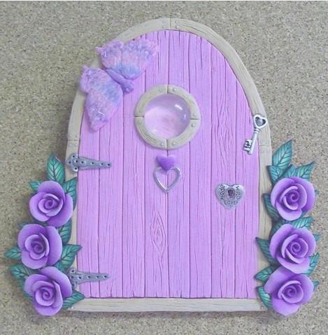 Pale pink fairy door with purple roses sold for Purple fairy door
