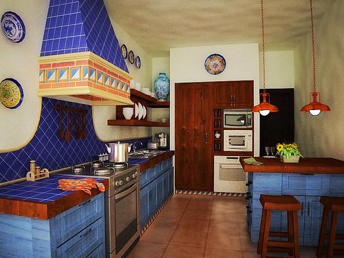 Cocina 3d perspectiva en 3d proyecto departamentos en for Cocinas rusticas mexicanas