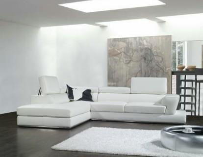 sofa esquinero derecho en cuero blanco ref 127 17