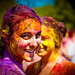 Holi festival : beautiful painted girl