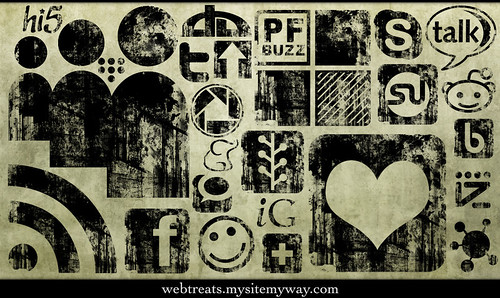 Black Ink Grunge Stamp Texture Social Media Icons | by webtreats