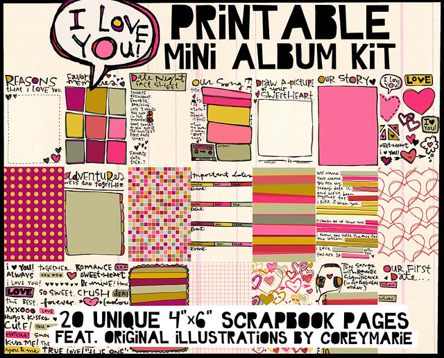i love you printable mini album kit just released a prin flickr. Black Bedroom Furniture Sets. Home Design Ideas