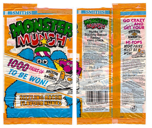 1991 uk smiths monster munch crisps packet bag british