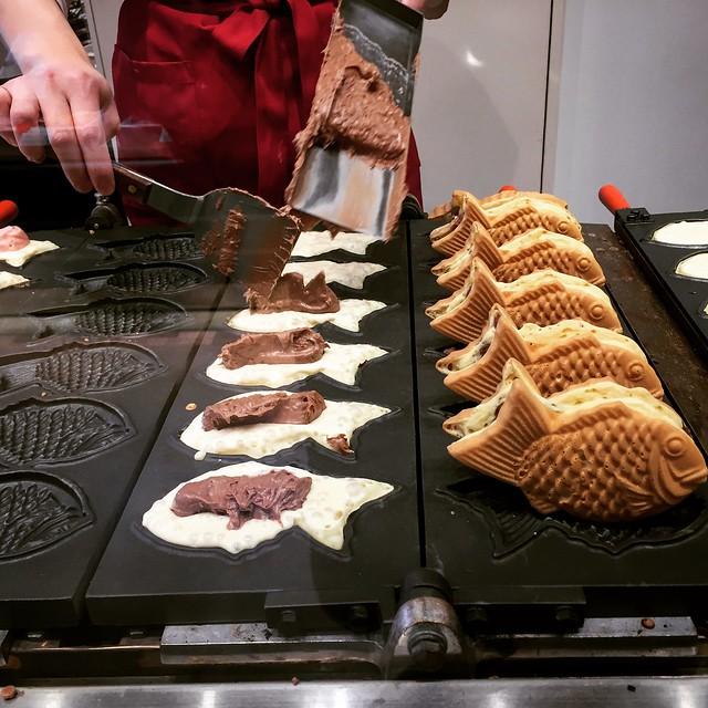 Chocolate waffle fish