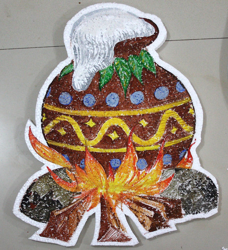 Pongal pot | I made this using poster colors on thermocol fo ...