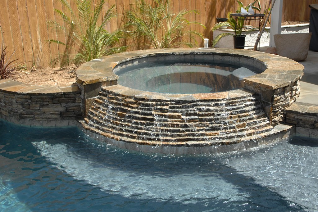 Inground Spas With Stack Stone : Spa waterfall stacked stone spillway redlands flickr