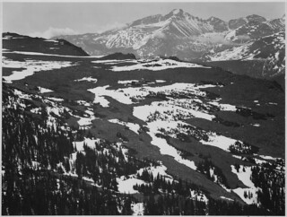 "View of plateau, snow covered mountain in background, ""Long's Peak, Rocky Mountain National Park,"" Colorado. 