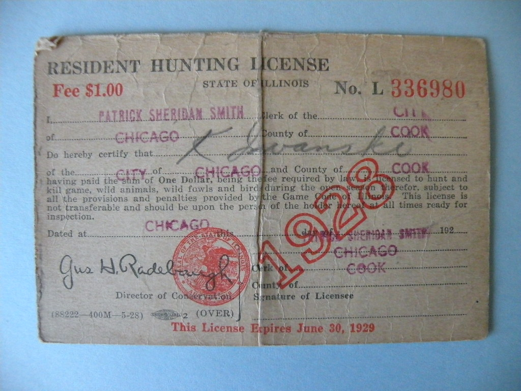 Kostanty gust iwanski 39 s 1928 illinois hunting license for Il fishing license