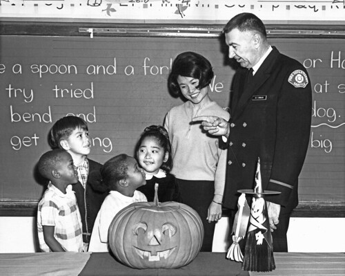 Firefighter G.F. Sevilles visiting classroom at Halloween, 1966 | by Seattle Municipal Archives