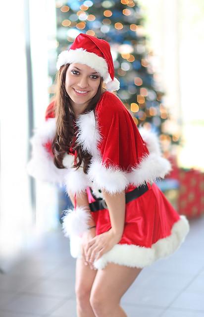 Sexy Santa S Helper Posing By The Christmas Tree I Took