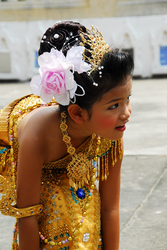 Little thai girl in traditional costume part of a series for Tiny thai teen