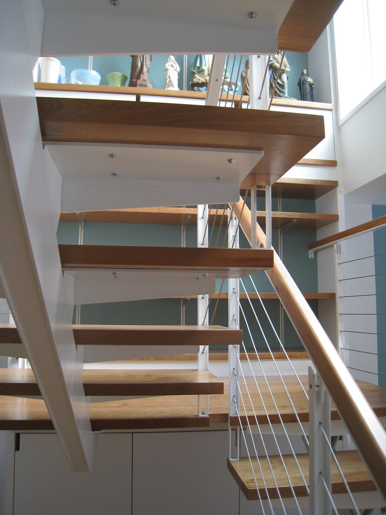 Stair Switchback Custom Steel Stair With Cherry Wood