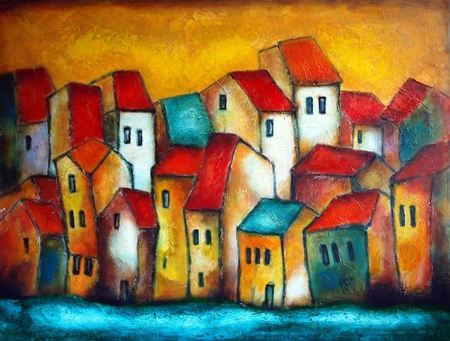 Big Family Textured Abstract Art By Nebojsa Jovanovic Ne