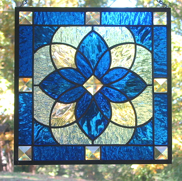 25 Modern Ideas To Use Stained Glass Designs For Home: Cobalt Blue Star Beveled Stained Glass Window Panel