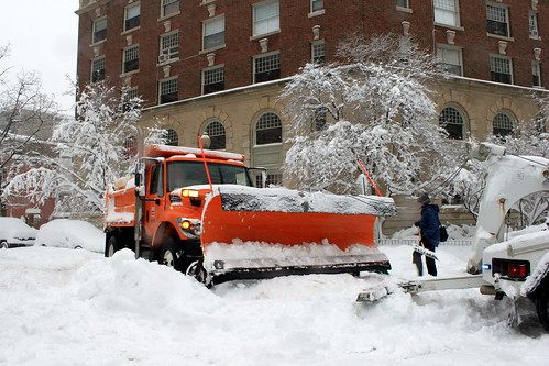 Snow plow being towed in the Snowmageddon 3 | by theqspeaks