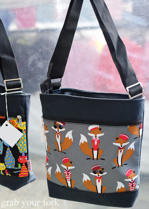 Fox print shoulder bags at the Salamanca Market in Hobart