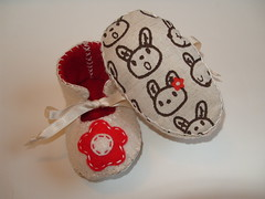 Cream and Red Baby Girl Booties with Flower Motifs and Bunny Fabric Soles | by Funky Shapes