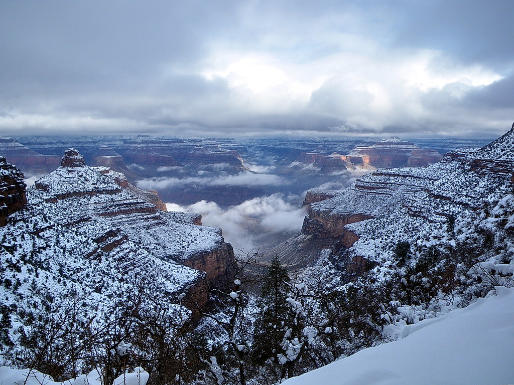 North Rim Clouds From Bright Angel Trail Grand Canyon