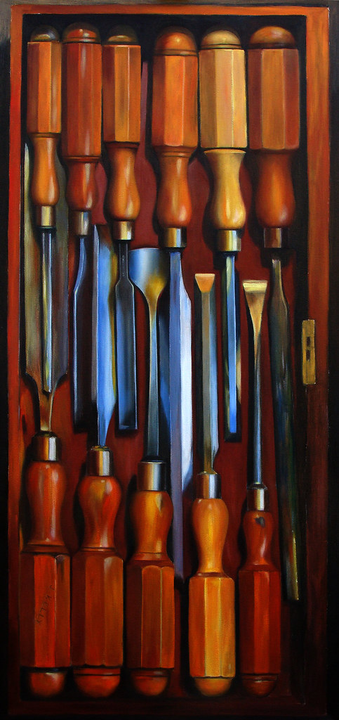 Oil on canvas quot boxwood handled chisels