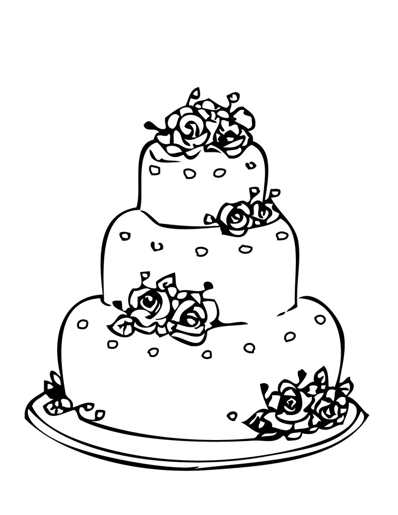 Coloring pages cake -  Wedding Cake Coloring Page By Ktsaltishok