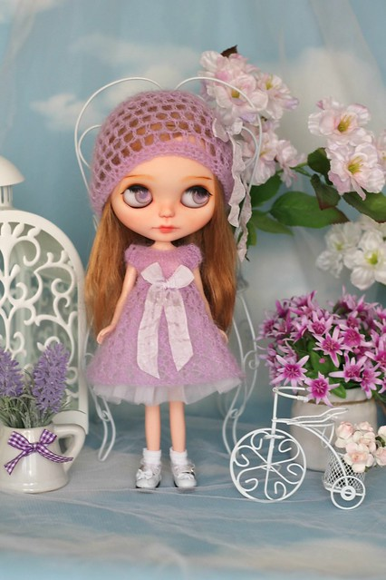 Fluffy hand-knitted dress