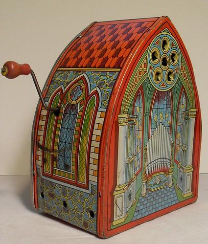 Toys For Church : Vintage s crank wind up tin metal toy church organ