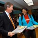 Lunch with students at Jester Center on the first day as UT President in 2008