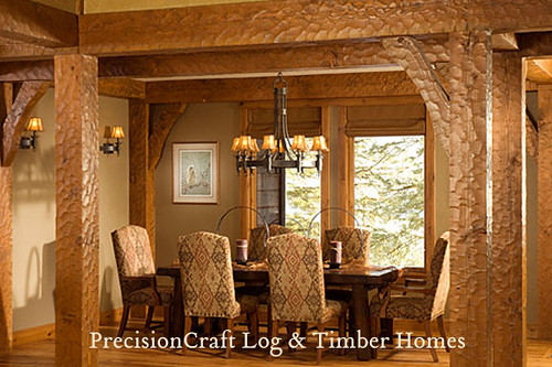 ... Dining Room View In Timber Frame Home Interior | By PrecisionCraft Timber  Frame Homes | By