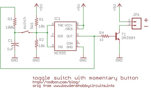 On off toggle switch from a momentary switch using 555