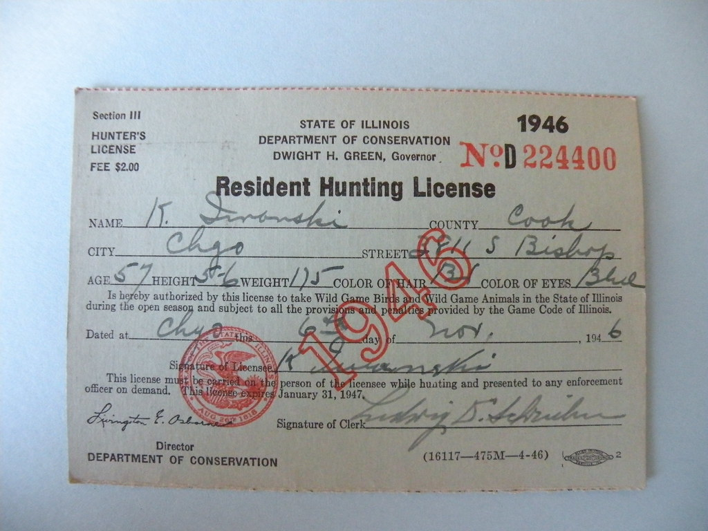 Kostanty gust iwanski 39 s 1946 illinois hunting license for Fishing license il
