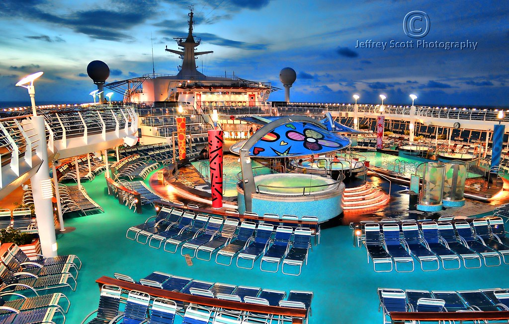 Cruise Ship Pool Deck At Dusk