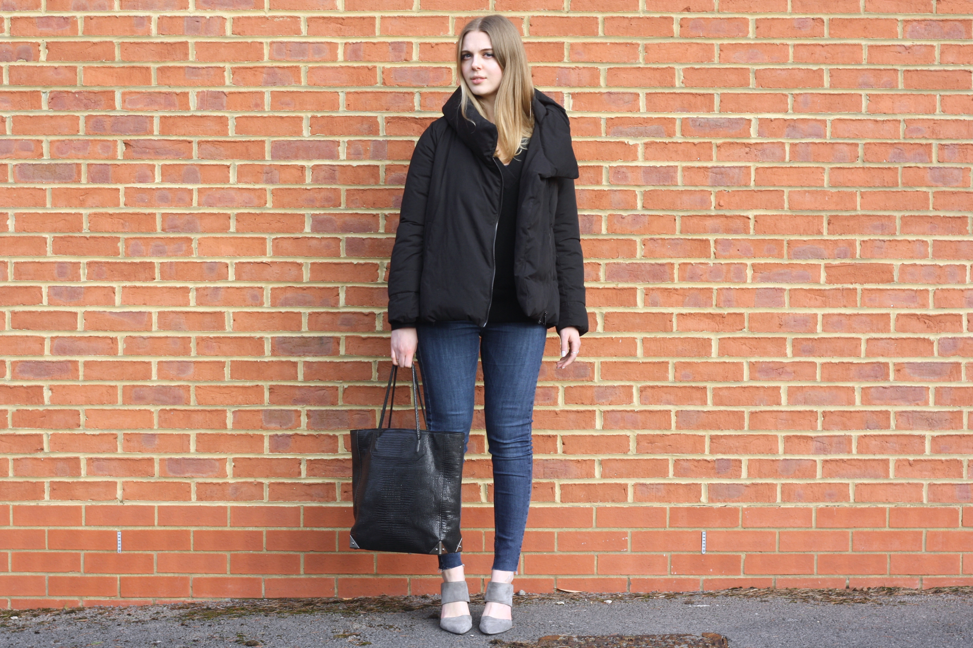 & Other Stories black cashmere jumper, Topshop Jamie blue jeans and Whistles grey suede mules
