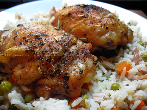 Baked Chicken | Rice with Ham, Carrots, and Peas | Easy Does… | KAC ...