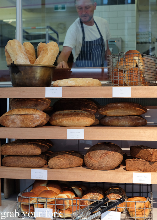 Sourdoughs and bagels at Pigeon Whole Bakers in Hobart Tasmania