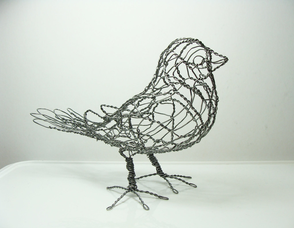 Wire sculpture bird b1 right one of 25 wire birds each for How to make a 3d bird sculpture