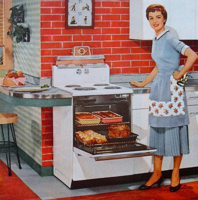 Women Kitchen: 1950s Housewife In Kitchen Interior