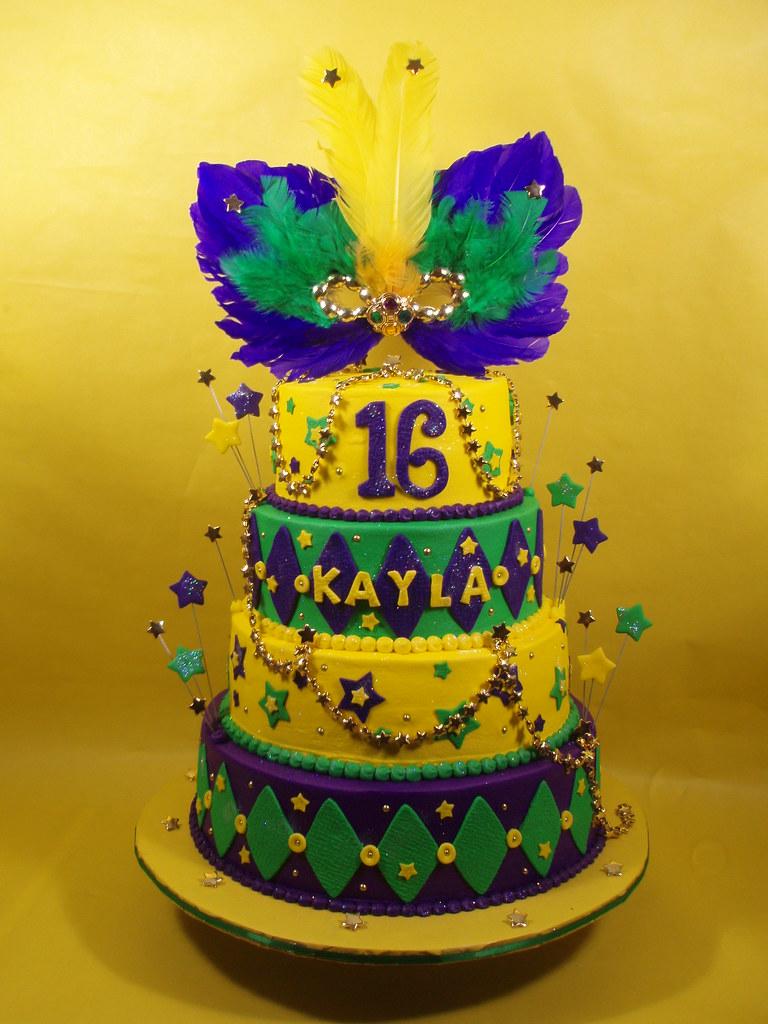 Happy Birthday Mardi Gras Cake