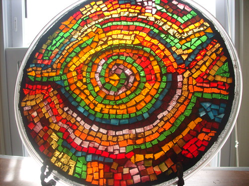 Microwave plate made into a sun catcher | by EarthMotherMosaics