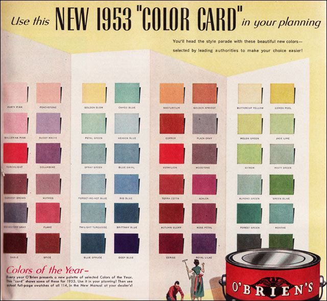 1953 Colors By O 39 Brien Paint Source 1953 Better Homes