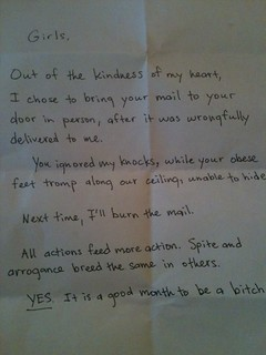 Next time, I'll burn the mail. | by passiveaggressivenotes
