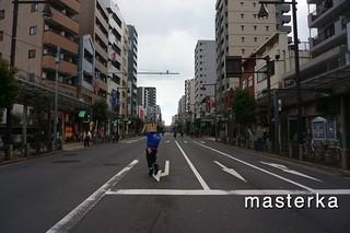 亀戸の歩行者天国の道路
