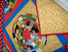 Scrappy Yellow Dot Quilt Back | by Peppermint Pinwheels