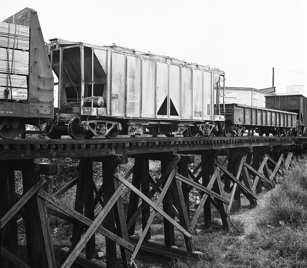 SCL Wooden Railroad Trestle With Freight Cars In The Gas P