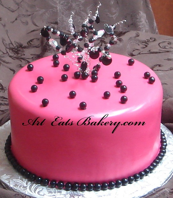 Hot Pink And Black Fondant Birthday Cake With Crystal Topp