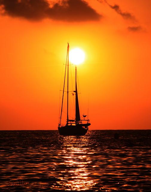 sunset sailing boats rocks - photo #38