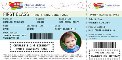 Airplane Train Party Boarding Pass Custom Birthday Invita Flickr