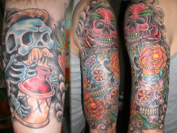 dia de los muertos half sleeve Cary Aldridge Short North T ... Dia De Los Muertos Sleeve Tattoos